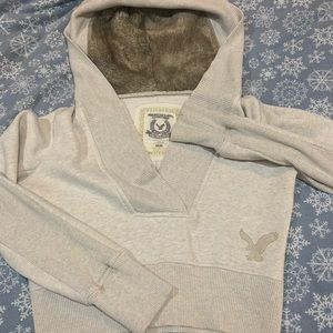 American Eagle Fur Lined Hoodie Crop Top